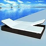 Tidyard Chaise Longue à 2 Places en Résine Tressée Construction Solide Style Moderne Marron 194x120cm