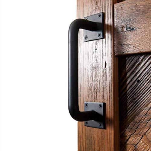 WQF Industrial Sliding Doors Handle | Black Iron Pull Handle, Bow Handle Boat Handles Handrail Bar Hardware Rustic Metal Pull Handles Gate Handles Hardware Set