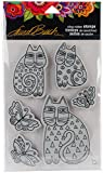 Stampendous Laurel Burch Cling Indigo Cats Stamp Set W/Template Sello con Plantilla, no aplicable, Multicolor, 23.11 x 13.08 x 0.63 cm