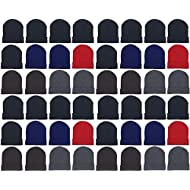 48 Pack Winter Beanies, Wholesale Bulk Cold Weather Warm Knit Skull Caps, Mens Womens Unisex Hats