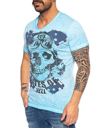 LARAZÉ Danger Skull Herren T-Shirt Tee Kurzarm Shirt Mit V-Ausschnitt S-XXL, Größe:XL, Farbe:Blau