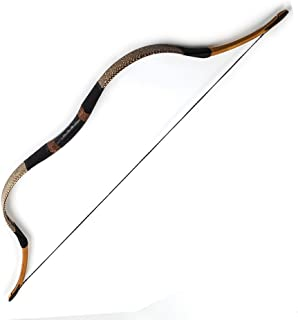 PG1ARCHERY Traditional Hungarian Longbow Handmade Snakeskin Horsebow Recurve Bow Archery Left & Right Handed for Adults Beginners Youth 20-80lbs
