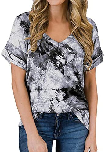 Kormei Women s Casual Tops Short Sleeve V Neck Shirts Loose Blouse Basic Tee T Shirt S Tie Dye product image