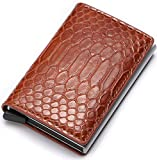 Credit Business Mini Card Wallet Hombre Mujer Smart Wallet Business Card Holder Hasp RFID Wallet-Brown Snake