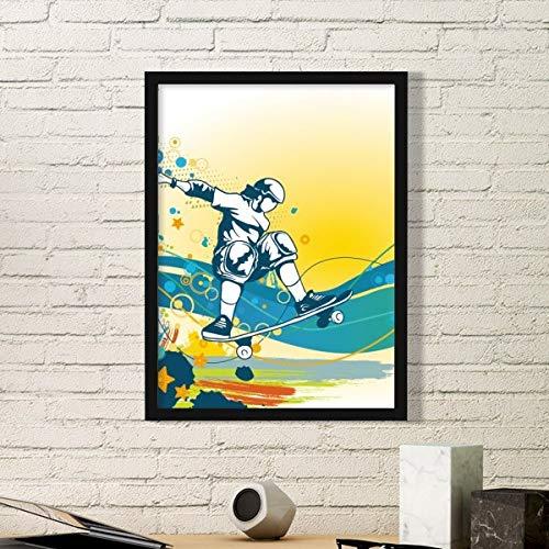 DIYthinker Sport Skateboard Bunte Illustration Einfache Bilderrahmen Kunstdrucke Malereien Startseite Wandtattoo Geschenk Small Schwarz
