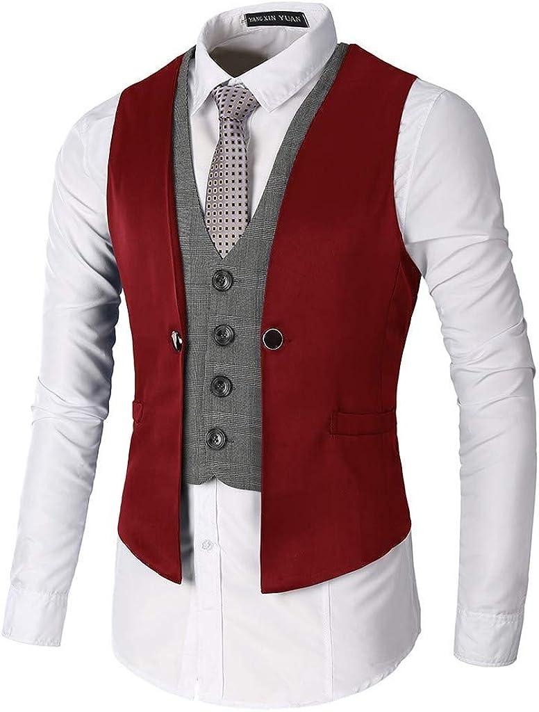 Men's Waistcoat Vintage Solid Formal Wedding Tuxedo Suit Vest Red