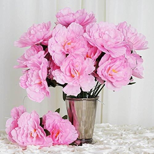 BalsaCircle 60 Pink Silk Peony Flowers - 12 Bushes - Artificial Flowers Wedding Party Centerpieces Arrangements Bouquets Supplies