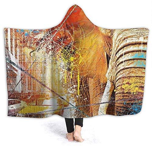 Aliciga Portable Couverture à Capuche Peluche,USA America Street Art Art de l'éléphant d'Afrique,Doux Chaud Toison Couverture de Jet Manteau Confortable pour Canapé-lit Home Travel,50\