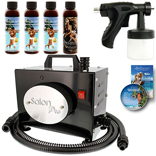 Salon Pro T200-12, 2 Stage Turbine Sunless HVLP Spray Tanning System; Simple Tan 4 Solution Variety Pack & Video Link
