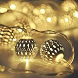 Globe String Lights,CMYK 14.6 ft 40 LED LED Fairy String Lights Battery Operated, Warm White