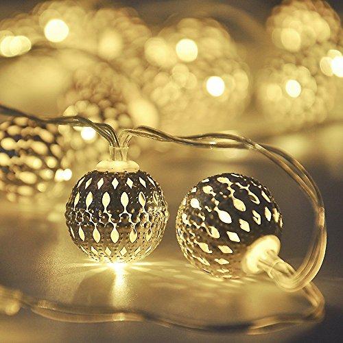 Globe String Lights,CMYK 14.6 ft 40 LED LED Fairy String Lights Battery Operated, Warm White