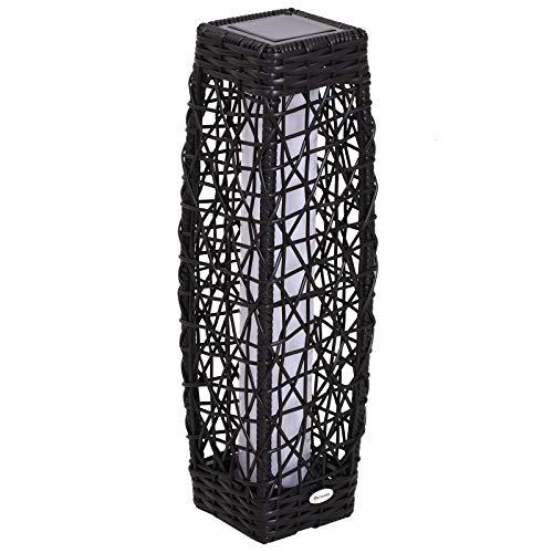 Outsunny Lámpara de Pie Ratán Luz LED Solar Ecológico para Interior Exterior Jardín Decoración Iluminación Marco de Metal 19x19x68cm