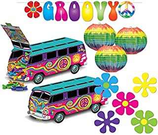 Beistle Groovy 60's Party Decorations Kit with Streamer, Centerpiece, Cutouts, and Paper Lanterns