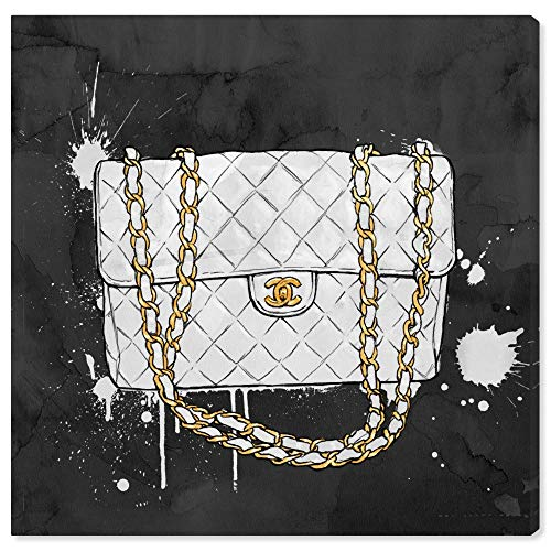 The Oliver Gal Artist Co. Fashion and Glam Wall Art Canvas Prints 'Everything But My White Bag' Home Décor, 12' x 12', Black, Gold