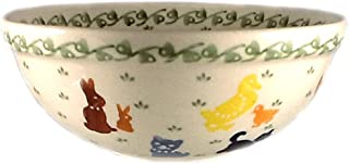 Polish Pottery Cereal Bowl Farm Cat Dog Chicken Duck 1.75 Cup