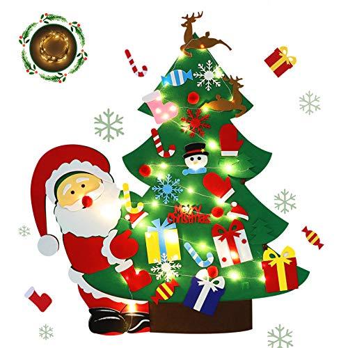 Felt Christmas Tree for Toddlers Felt Christmas Tree with Lights for Kids DIY Christmas Tree Set Wall Hanging 30pcs Detachable Ornaments,Santa Claus Decoration New Year Felt Christmas Tree