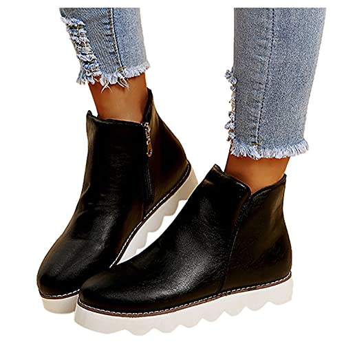 Woolkey Ankle Booties for Women Western Short Mid Calf Boots Round Toe Flat Solid Color Retro Zipper Non Slip Warm Work Knight Boots for Ladies Autumn Winter Street Office Hiking (Black, 6.5-7)