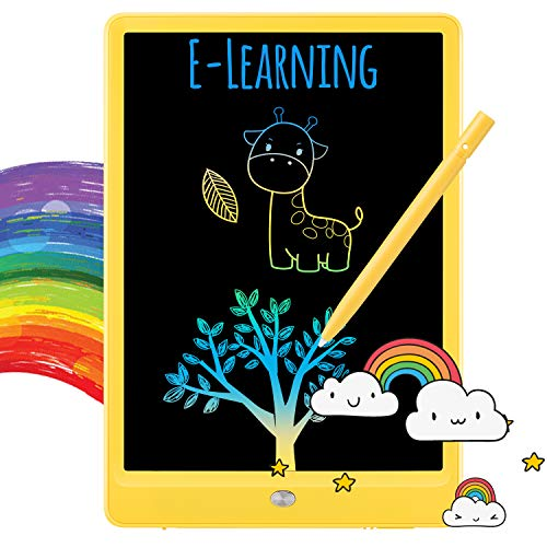 TEKFUN LCD Writing Tablet Doodle Board, 10inch Colorful Drawing Tablet Writing Pad, Girls Gifts Toys for 3 4 5 6 7 Year Old Girls Boys (Yellow)