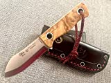 NIETO - 1046-O. Cuchillo Miguel Nieto MINI SIOUX NESSMUK. Mango de Olivo. Hoja 8 cm. Funda cuero. Herramienta para Caza, Pesca, Camping, Outdoor, Supervivencia y Bushcraft