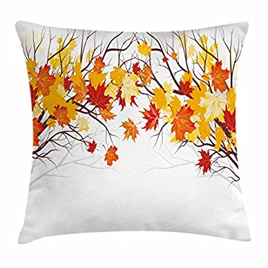 Ambesonne Fall Decorations Throw Pillow Cushion Cover, Image of Canadian Maple Leaves in Fall with Soft Reflection Effects, Decorative Square Accent Pillow Case, 20 X 20 Inches, Orange White