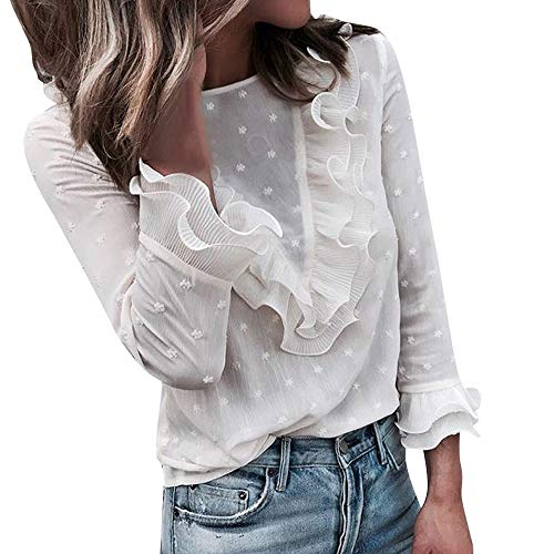 Aniywn Women O Neck Lace Floral Print Long Sleeve Blouse Fancy Ruffle Casual Tunic Top White