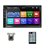 "Double Din Car Stereo Bluetooth Car Radio with 7""HD Touch Screen Car MP5 Player FM Radio Receiver Support Rear View Camera Input SWC Mirror Link AUX in USB TF Multimedia Player with Rear View Camera"