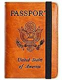 Passport Holder Cover Wallet RFID Blocking Leather Card Case Travel Document Organizer (Ea...