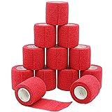 YuMai Vendaje adhesivo Primeros Auxilios Cinta Adhesiva, 5 cm × 4,5 m Pack de 12 aprobado por la FDA - Rojo