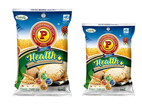 P Mark Combo Pack of Health Plus Chakki Atta 10 Kg + 5 Kg