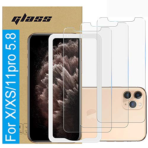(3 Pack )Amuoc Tempered Glass Film for Apple iPhone 11 Pro Screen Protector and iPhone Xs Screen Protector and iPhone X Screen Protector ,with (Easy Installation Tray) Anti Scratch, Bubble Free