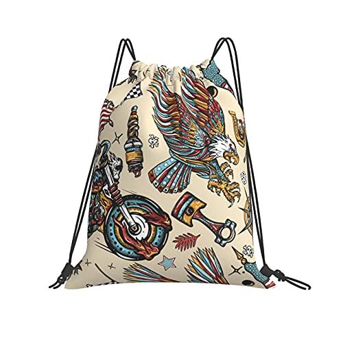 QUEMIN Bolso clásico con cordón American Patriotic Eagle, Moto Sport Flags, USA Maps Gym Sack Bag Mochila con cordón Mochila Deportiva de poliéster para Hombres y Mujeres