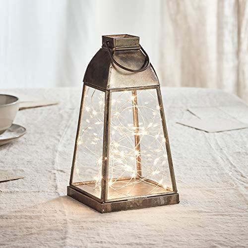 Lights4fun Artisan Glas Laterne Otto 23,5cm inkl. 50er Micro Lichterkette