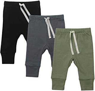 Elkrry Baby Unisex 3-Pack Pants, Infant Boys Girls Cotton Tapered Ankle Pants