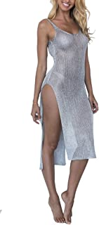 f26d05b2a6651 D-Sun Women's Sexy See Though Gold Side Slit Long Beach Dress Bikini Cover-