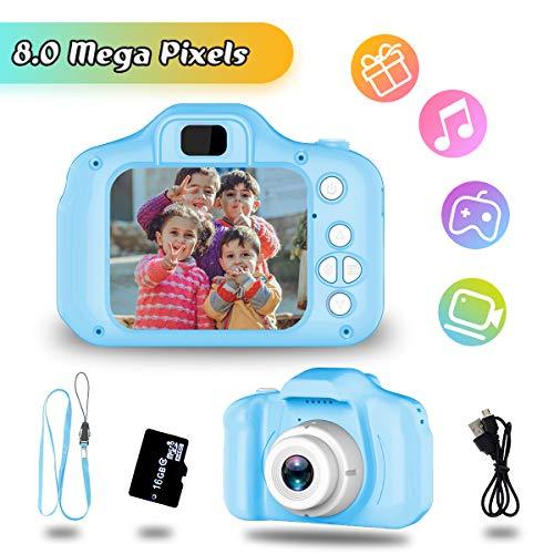 Geschenk für 4-6 Jahre Mädchen Jungs YORKOO Kinder Kamera HD 1080P Digitalkamera für Kinder Silikon Fotoapparat Kinderkamera Bestes Spielzeug Blau