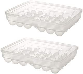 2 Pack Eggs Dispenser Covered Egg Holder,34 Eggs, Clear by Rekukos