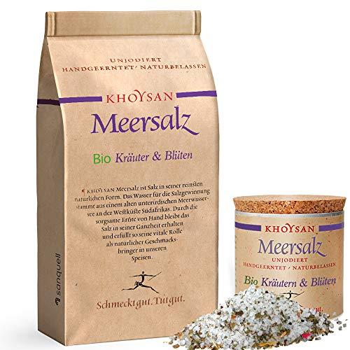 Sanquell GmbH Khoysan-Meersalz Kräuter & Blüten | handgeschöpft | besonders rein | eines der besten Salze der Welt |1kg Nachfüllbeutel & 200g Deko-Box (gefüllt)
