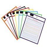 Dry Erase Pockets 8 Pack, Plastic Dry Erase Sleeves Assorted Colors, Reusable Sheet Protectors for School Supplies Teachers, 10 x 14 inches by COLOGO