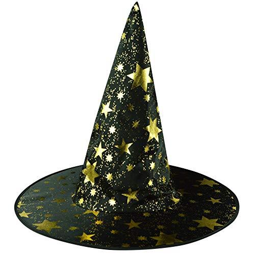 HINK Sombrero de Bruja para Hombre y Mujer Adulta para Disfraz de Halloween Accesorio Gorra con Estampado de...