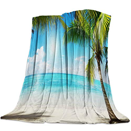 MAIANNE Beach Coco Tree Blue Sky Soft Throw Blankets Fluffy Fuzzy Flannel Bed Blanket Decorative for Home Sofa Couch Chair Living Bedroom Ocean Theme 60x80 inches