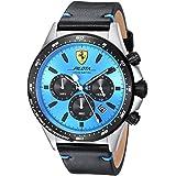 Ferrari Men's Pilota Stainless Steel Quartz Watch with Leather Calfskin Strap, Black, 22 (Model: 0830388)