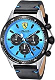 Ferrari Men's Pilota Stainless Steel Quartz Watch with Leather Calfskin Strap, Black, 22 (Model: 0830388)