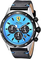 Pilota chrono 45mm ss case black ip bezel and pushers black leather strap blue dial w. Black sub eyes Durable mineral crystal protects watch from scratches Quartz Movement Case Diameter: 45mm Water resistant to 50m (165ft: in general, suitable for sh...