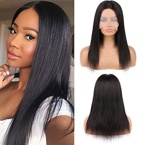 DaiMer Hand Tied T Part Lace Front Wig for Black Women Straight Human Hair Wig Pre Plucked with Baby Hair 150% Density Glueless Remy Brazilian Straight Front Lace Wigs (12 inch,Natural Color)