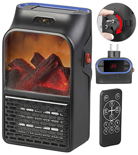 Sichler Haushaltsgeräte Mini-verwarming: stopcontact-verwarmingskachel met haardvuur-effect en afstandsbediening, 500 W (mini-ventilator)