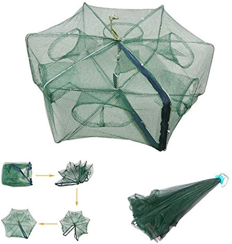 6 pcs JOSHNESE Nylon 80cm 6 Hole Foldable Fishing Net Trap Cast Dip Cage Fish Minnow Crawdad Shrimp   Green