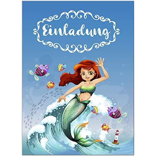 16 Einladungskarten zum Kindergeburtstag Meerjungfrau Schwimmbad Party - Einladungen für Kinder zum Geburtstag im Set