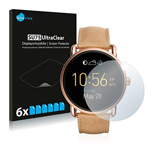 Savvies 6X Schutzfolie kompatibel mit Fossil Q Wander 2.0 Displayschutz-Folie Ultra-transparent
