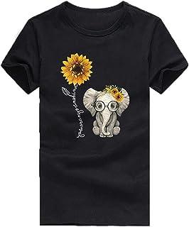 Camiseta de manga corta para mujer, diseño de elefante, girasol, cuello redondo, blusa de verano