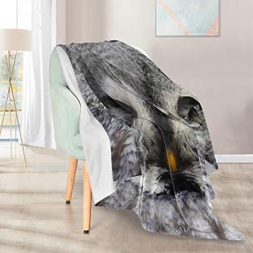 Lupinz Decke mit Eulen-Motiv, doppelseitig, Kunstfell, 127 x 152 cm
